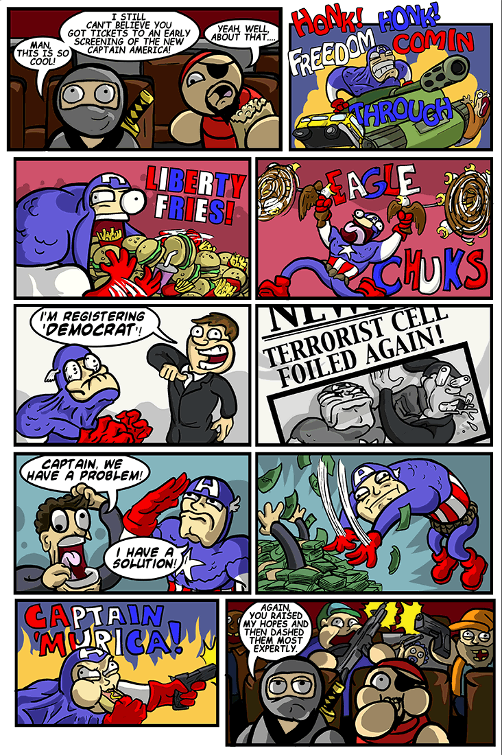 I didn't show the scene where Captain 'Murica shows up in James' Proudstar's house and kicks him out. We kind of want to sweep that under the star-spangled rug, to be honest.